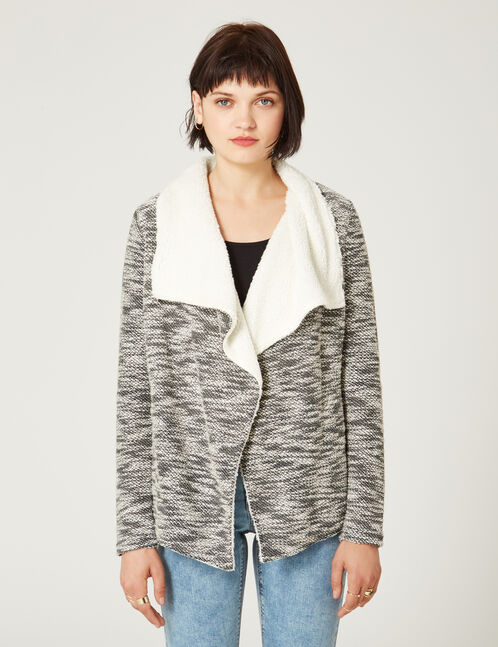 veste jetée doublée écrue