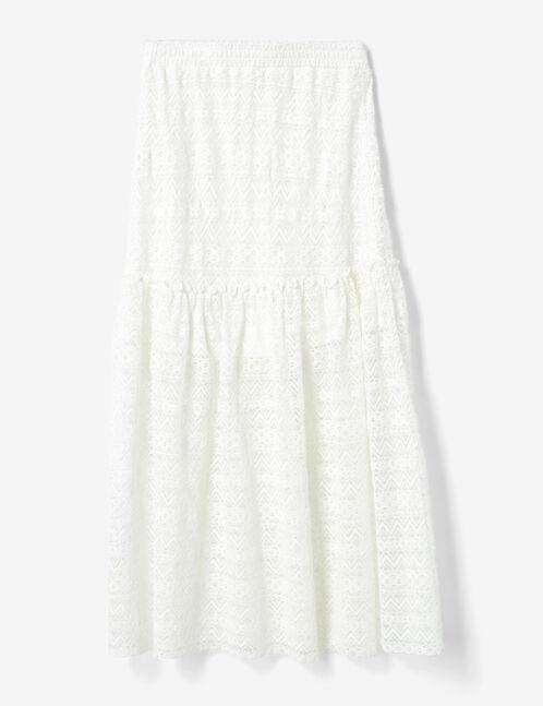 jupe longue en dentelle écrue