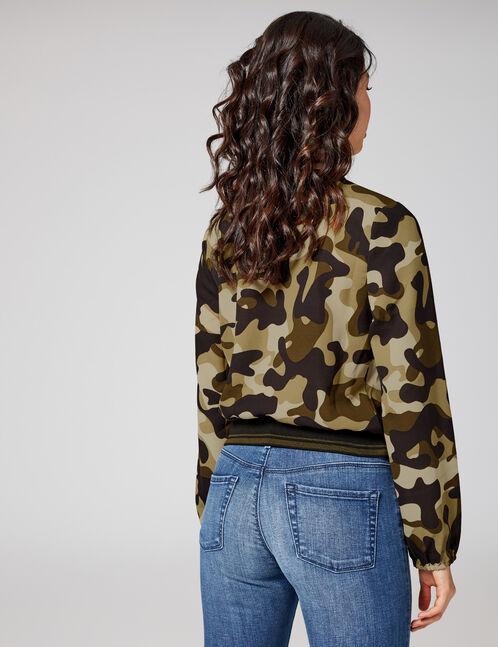Khaki and black camouflage wrap blouse