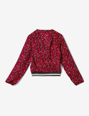 blouse cache cur léopard rouge