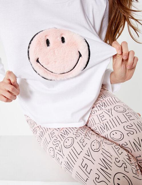 set pyjama smiley blanc et rose clair