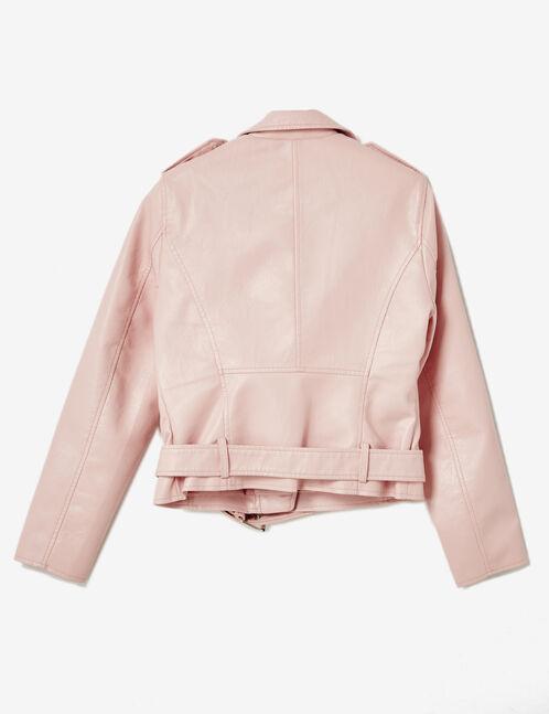 veste biker avec ceinture rose clair