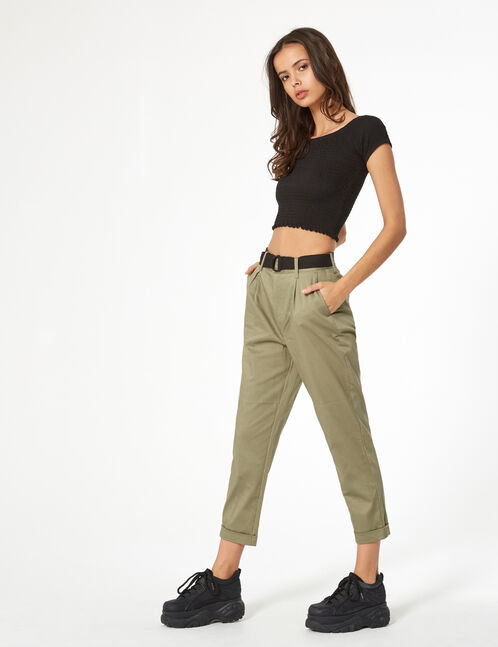 light khaki trousers with belt