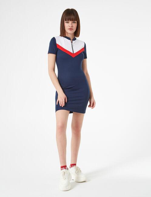 robe zippée avec chevrons bleue marine rouge et blanche