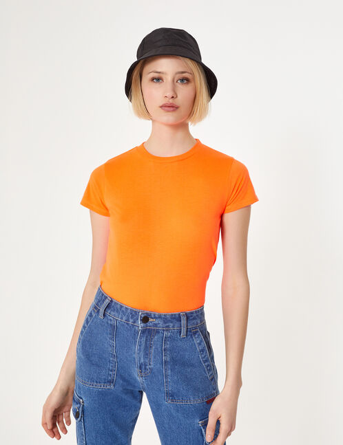 tee-shirt basic orange fluo