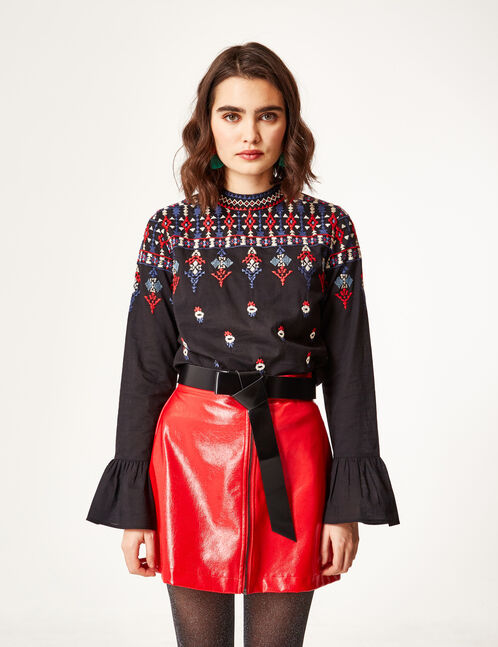 Black embroidered blouse