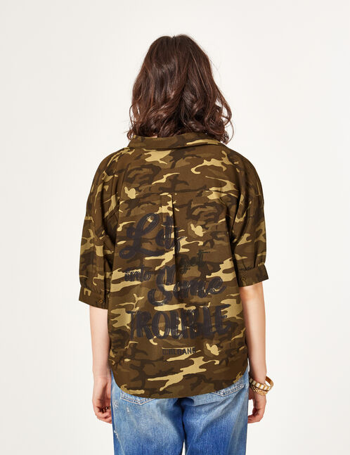 Khaki camouflage shirt with embroidered text design detail