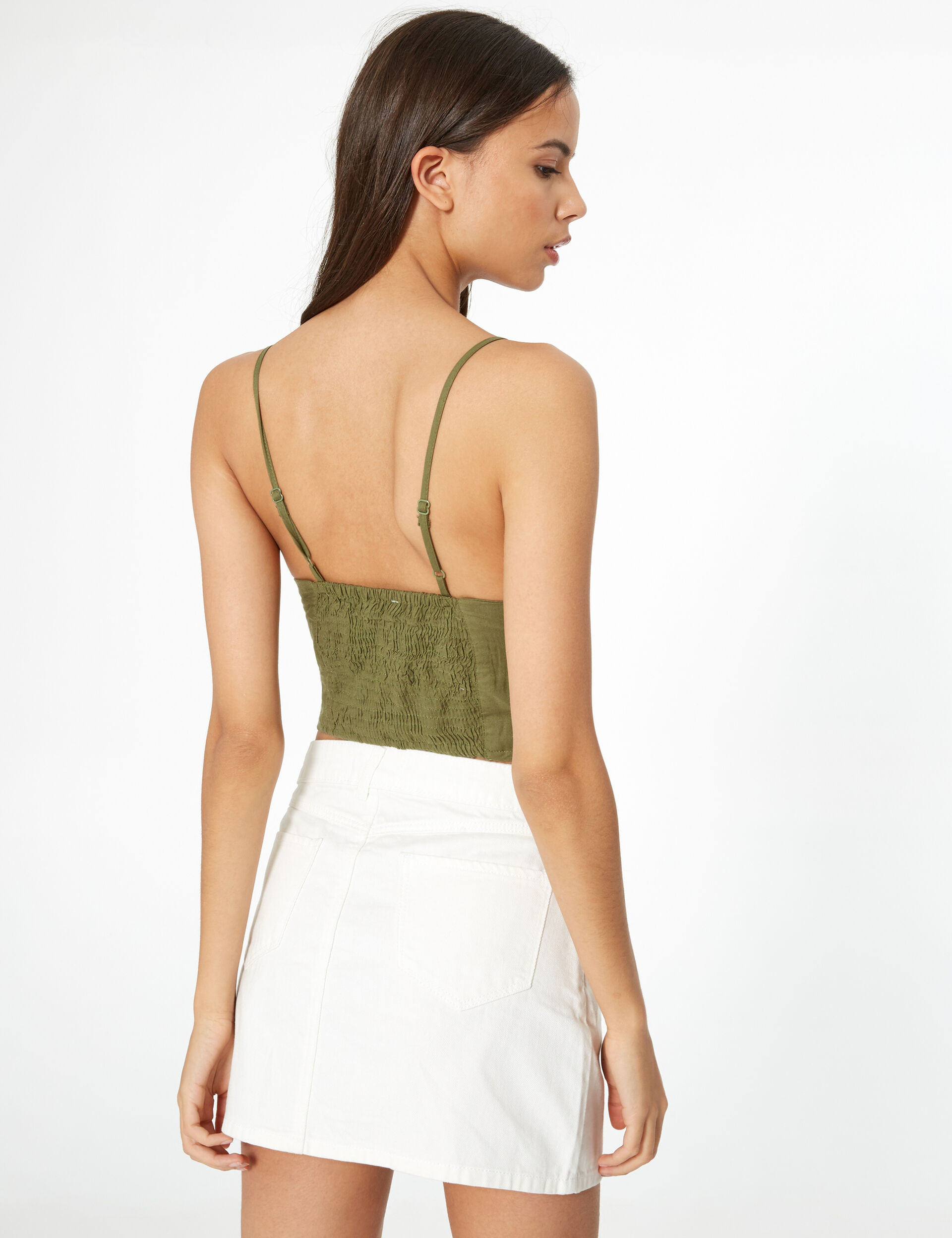 Khaki crop top with knot detail