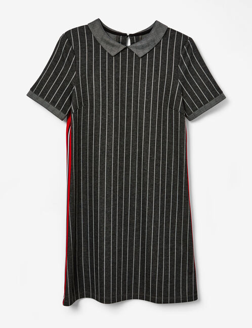 Charcoal grey striped dress with side trim detail