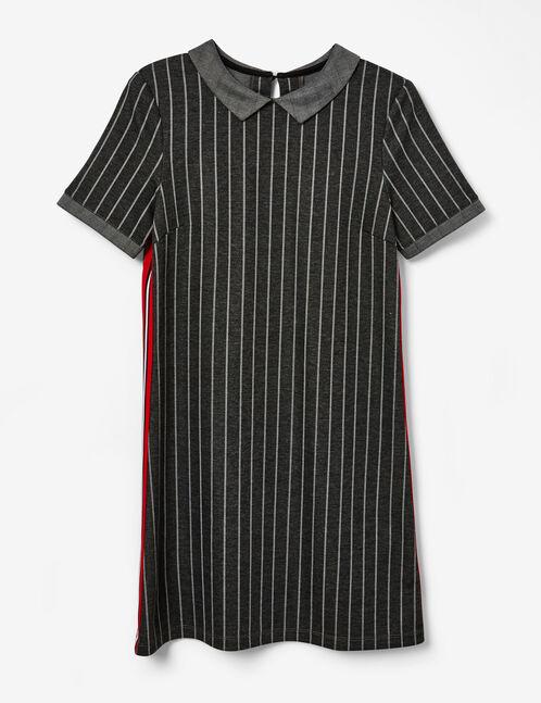 robe rayée avec bandes côtés gris anthracite