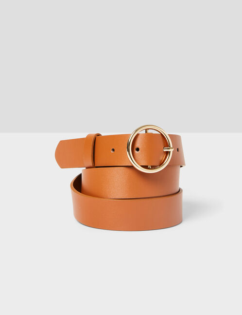Camel belt with round buckle detail