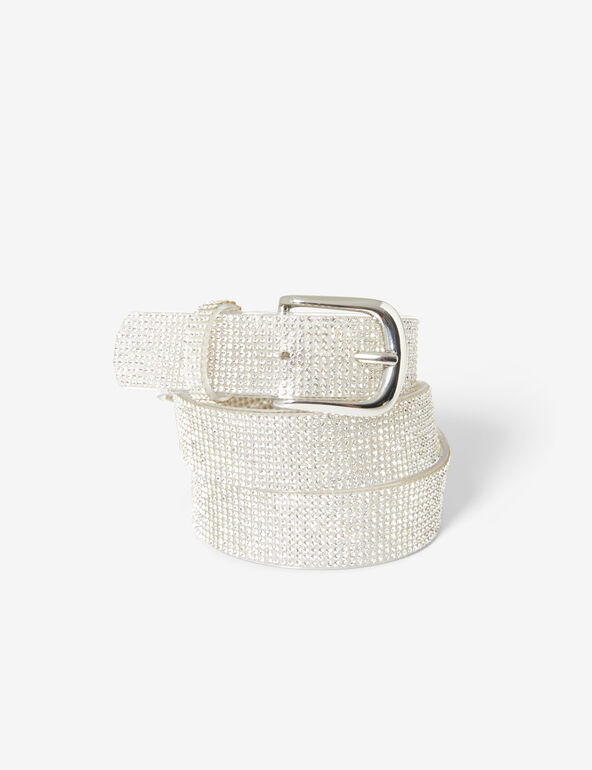 Transparent belt with rhinestone detail