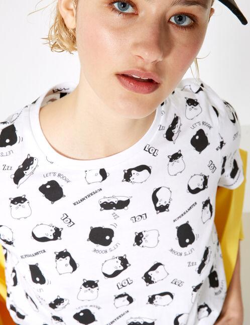 tee-shirt hamster blanc