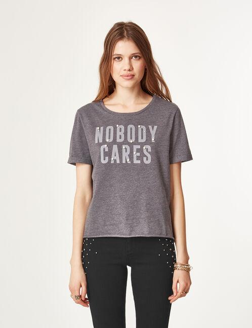 tee-shirt à message gris anthracite chiné