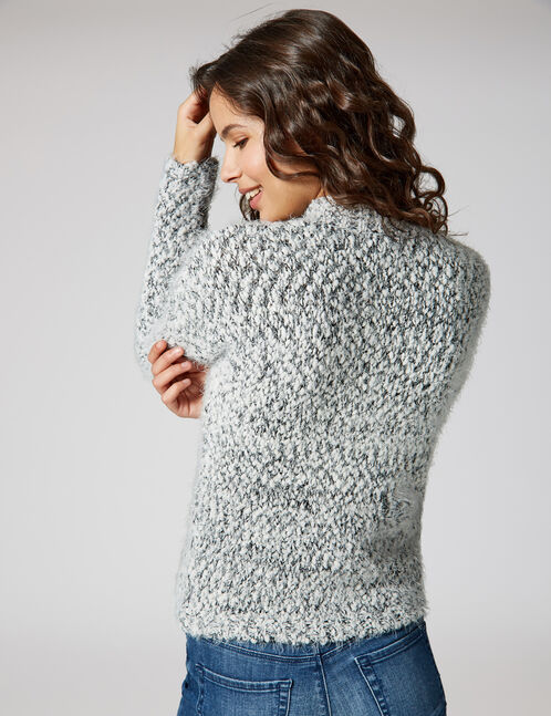 White and black mohair jumper with lurex detail