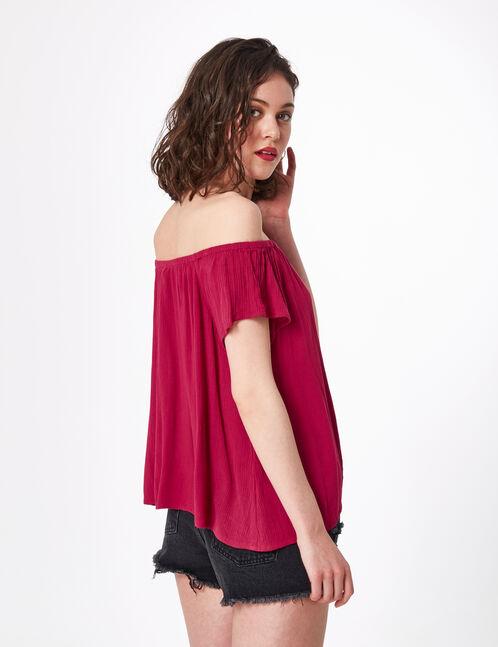 Burgundy off-the-shoulder blouse