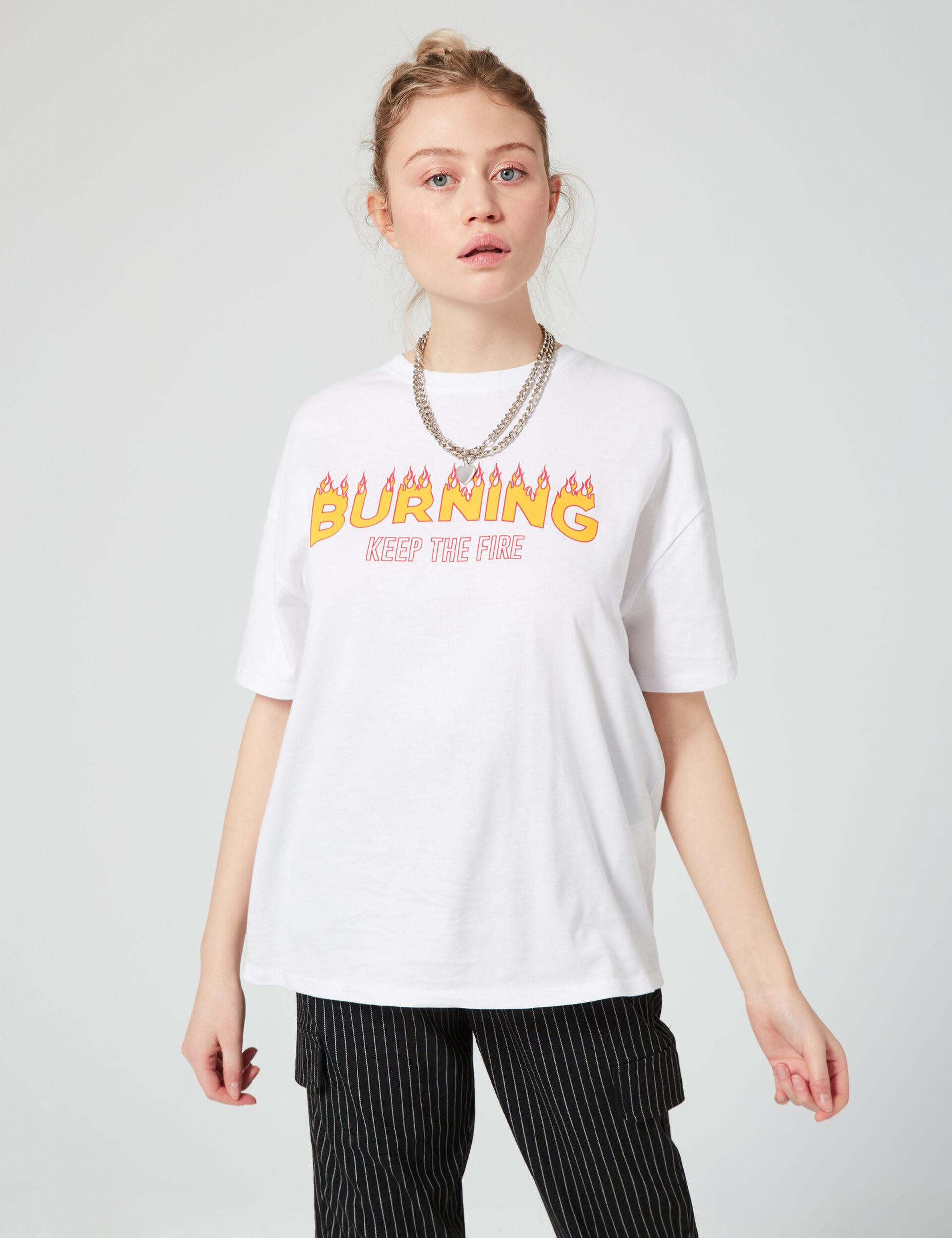 Oversized 'burning' T-shirt