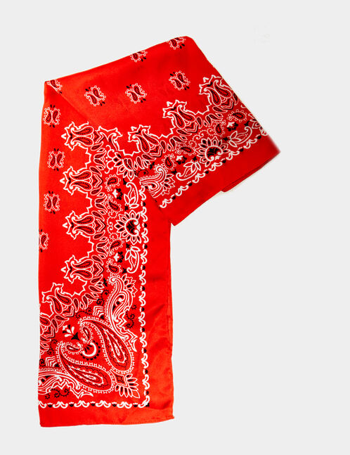 Red silk-effect scarf