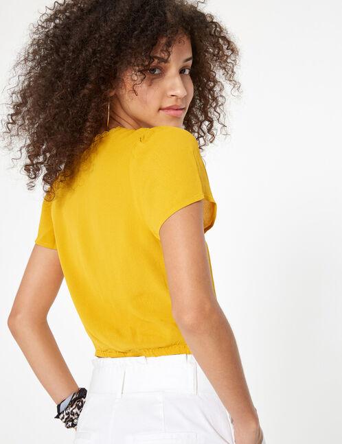 blouse cache-coeur ocre