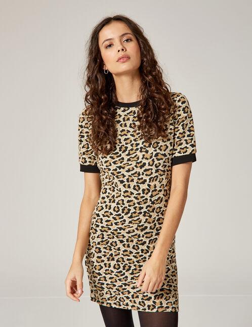 robe léopard beige et noire