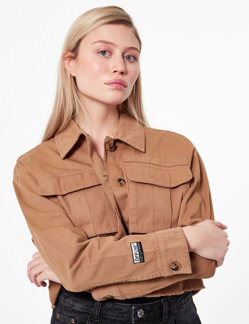 Cropped cargo jacket