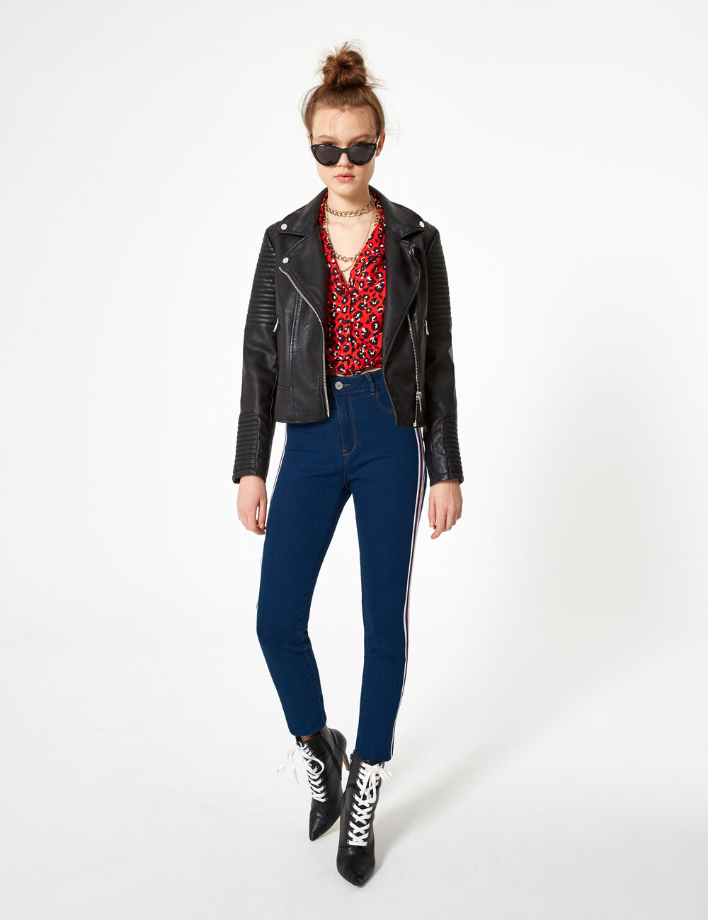 30d7305eac715 Medium blue, red, black and white jeggings with striped trim detail ...