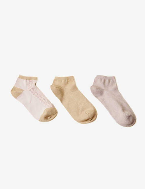 Gold and lilac patterned socks