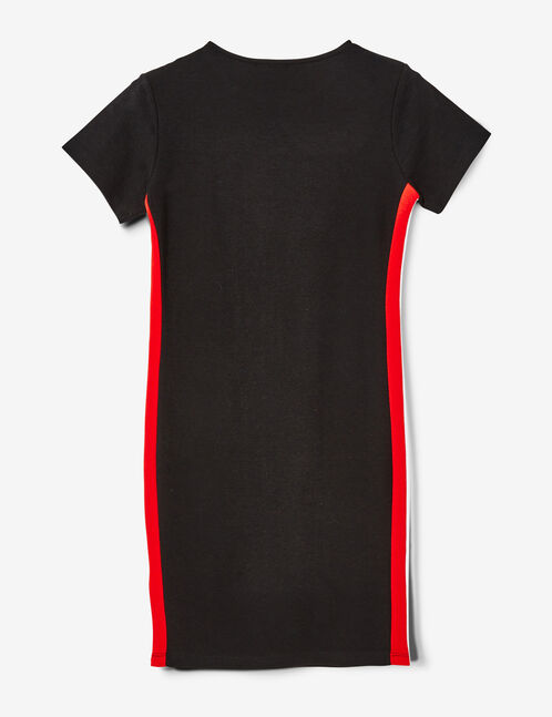 Black dress with side stripe detail
