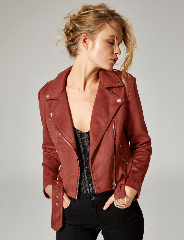 Rust-coloured faux suede biker jacket