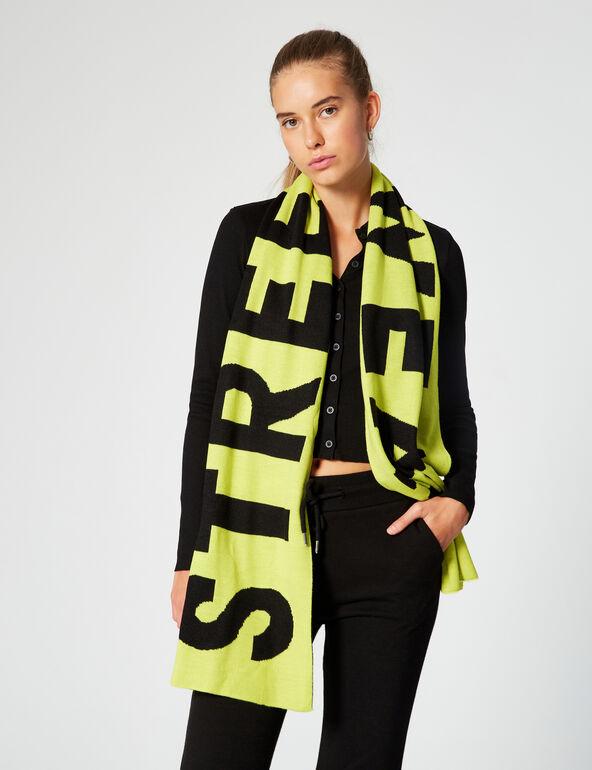 Two-tone slogan scarf