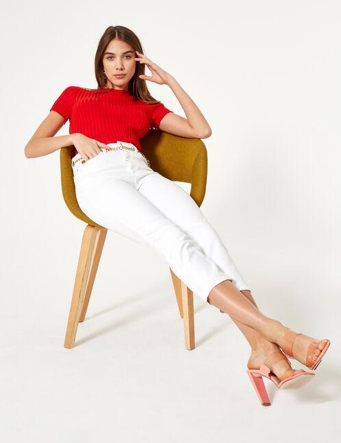 White straight leg jeans