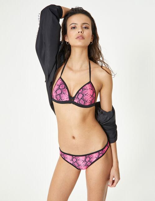 maillot de bain 2 pièces python rose et noir
