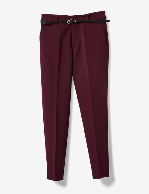 Plum tailored trousers with belt