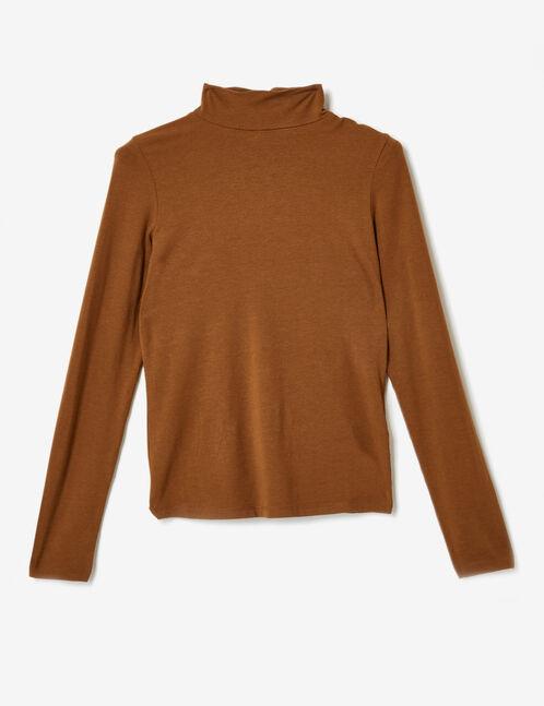 tee-shirt col roulé camel