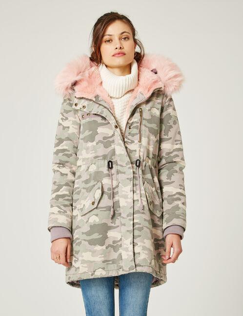 Long light pink camouflage parka
