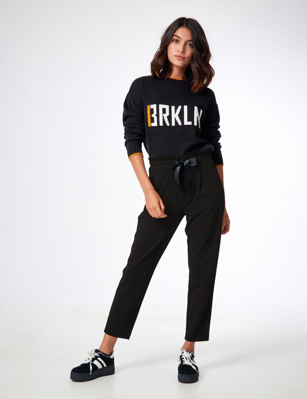 pantalon avec noeud satin noir femme jennyfer. Black Bedroom Furniture Sets. Home Design Ideas
