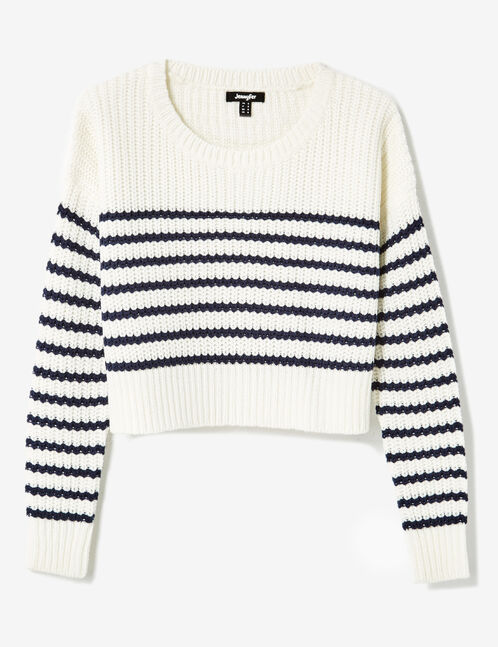 Cream and navy blue striped cropped jumper