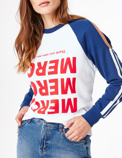 Cream and navy blue two-tone sweatshirt with text design detail
