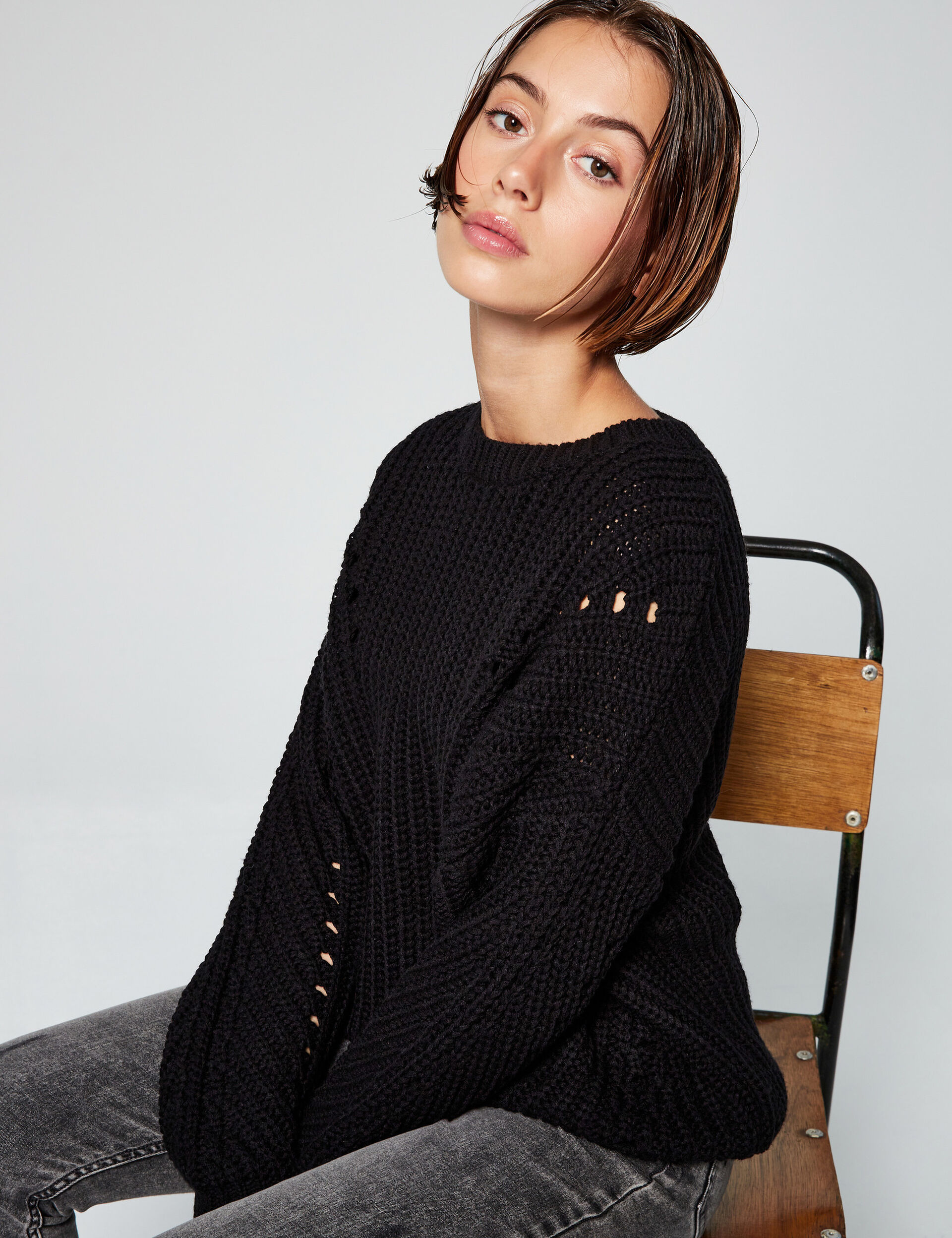 Ribbed loose-fit jumper