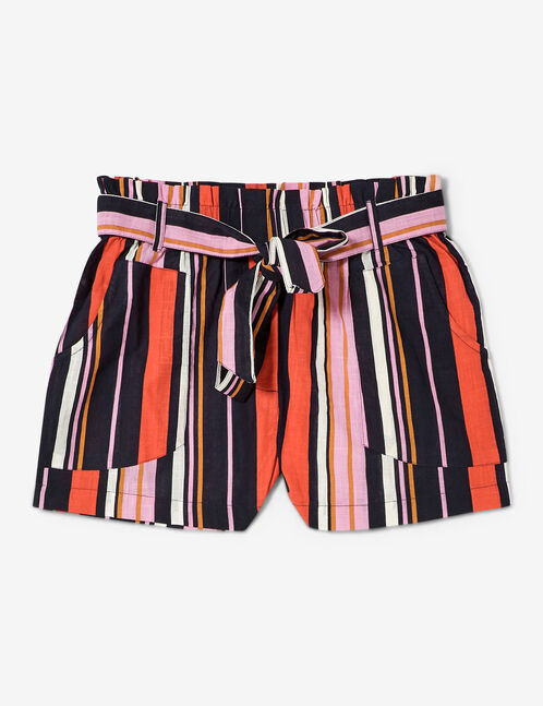 Pink, navy blue and red high waisted striped shorts