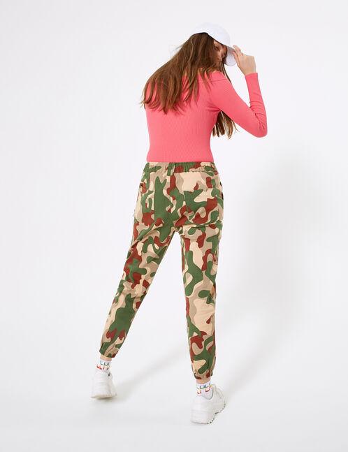 pantalon cargo avec chaîne camouflage kaki et rouille