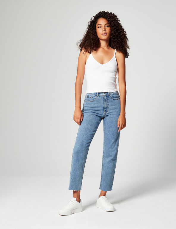 High-waisted mom jeans