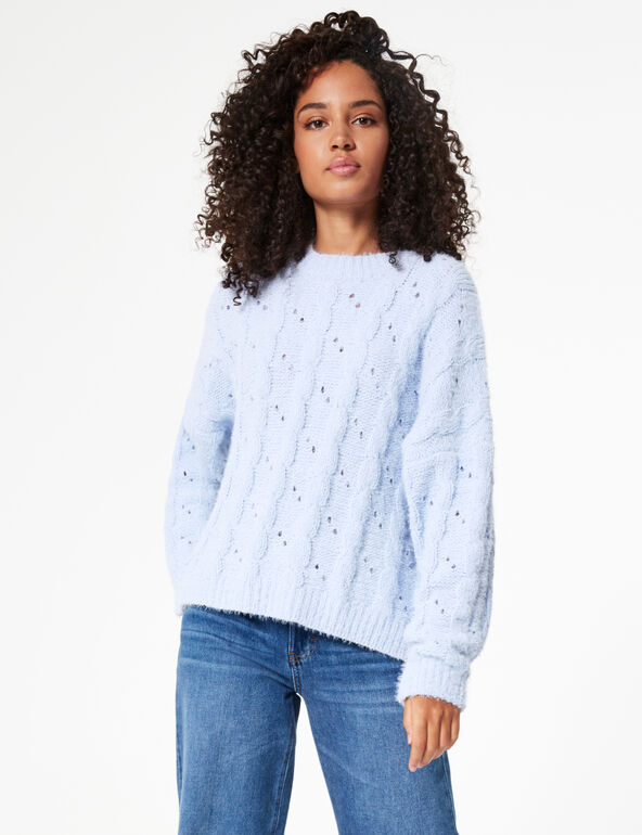 Imitation mohair cable-stitch jumper