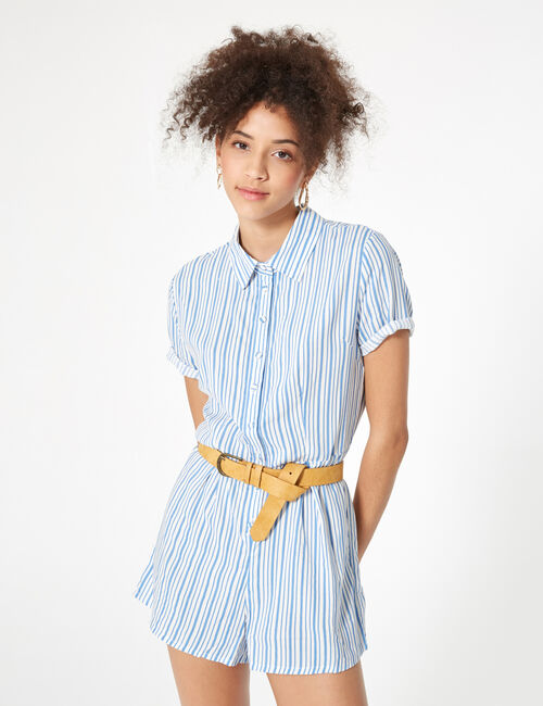 Light blue and white striped button playsuit