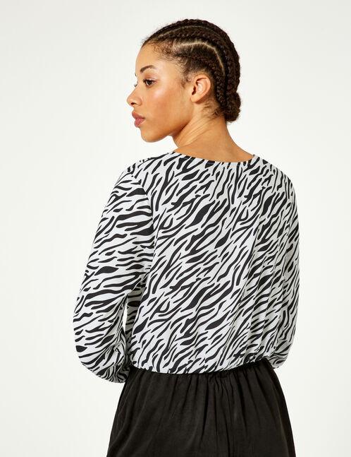 Black and white zebra print wrap blouse