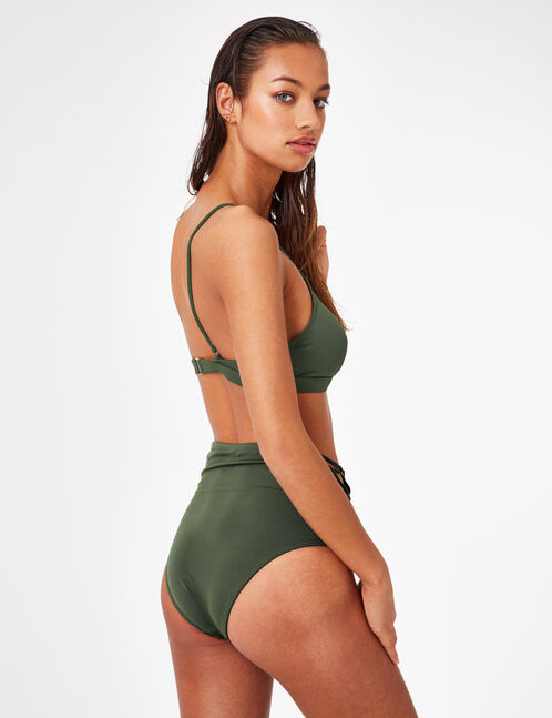 Khaki bikini top with lacing detail