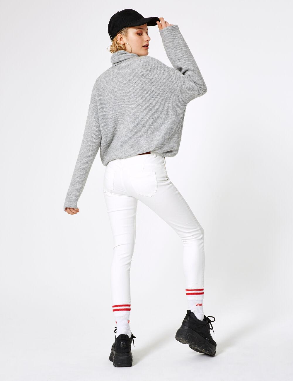 Charmant Pantalon Skinny Taille Haute Blanc