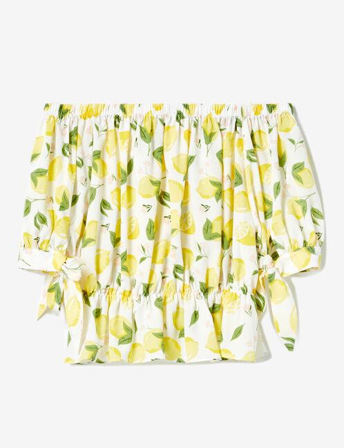Cream lemon print blouse