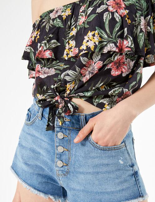 blouse fleuri avec volant noire