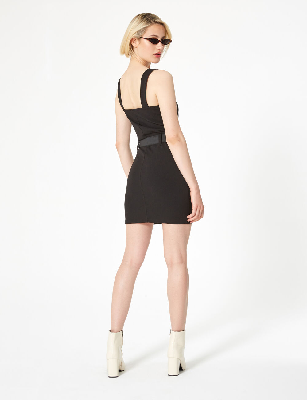 7defe667fcdf2 Robe zippée avec ceinture noire femme • Jennyfer